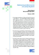 Reforma da previdência social com justiça de gênero